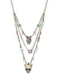 Betsey Johnson Gold-tone Skull Illusion Necklace - Lyst