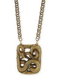 Haute Hippie - Antiqued Snake Pendant Necklace - Lyst