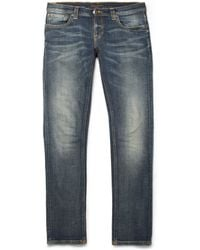 Nudie Jeans Tight Long John Slim-fit Washed-denim Jeans - Lyst