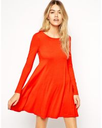 Asos Seamed Swing Dress With Long Sleeves - Lyst
