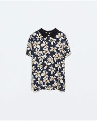 Zara Print Top with Shirt Collar - Lyst