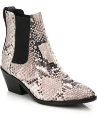 Rag & Bone Dixon Snake-Embossed Booties - Lyst