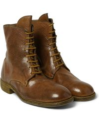 Guidi Burnished Pebble-Grain Leather Boots - Lyst