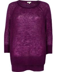 River Island Purple Mohair Stepped Hem Slouchy Sweater - Lyst