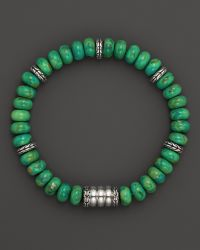 John Hardy Mens Batu Bedeg Silver Beads Bracelet with Mohave Green Turquoise - Lyst