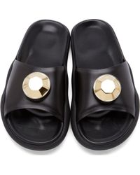 Christopher Kane Black Leather Gold Gem Pool Sandals - Lyst