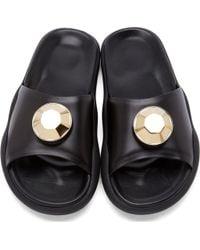 Christopher Kane Black Leather Gold Gem Pool Sandals black - Lyst