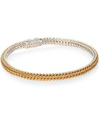 John Hardy Classic Chain 18K Yellow Gold & Sterling Silver Extra-Small Reversible Bracelet - Lyst