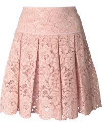 DKNY Pleated Lace Mini Skirt - Lyst