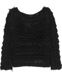 Donna Karan New York Shearlingtrimmed Cashmere and Silkblend Sweater - Lyst