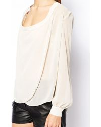 Asos Top with Detail Front and Drape Neck - Lyst