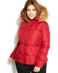 Calvin Klein Plus Size Fauxfurtrim Hooded Puffer Down Coat - Lyst