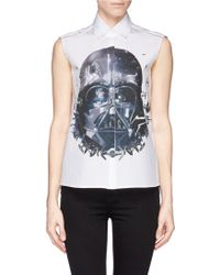 Preen Darth Vader Print Cutout Lace Trim Shirt - Lyst