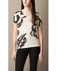 Burberry Floral Print Cotton T-shirt - Lyst