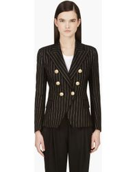 Balmain Black and Gold Cotton Pinstripe Blazer - Lyst