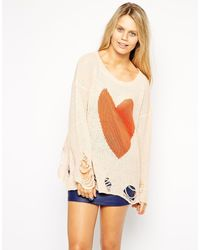 Wildfox Lennon Big Heart Sweater - Lyst