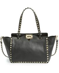 Valentino 'Mini Rockstud' Leather Tote - Lyst