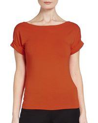 Donna Karan New York Orange Roll-sleeved Top - Lyst