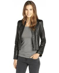 Rachel Zoe Black Leather Saddle Quilted Janelle Jacket - Lyst