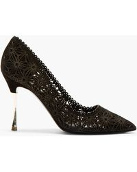 Nicholas Kirkwood Black Lasercut Suede Pointed Pumps - Lyst