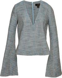 Ellery Humilis Wide Long Sleeve Crop Top In Blue blue - Lyst