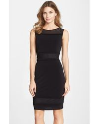Marc New York By Andrew Marc Mesh Inset Illusion Crepe Sheath Dress - Lyst