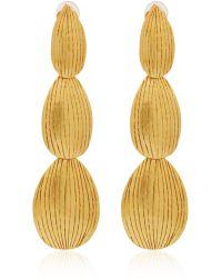 Herve Van Der Straeten Gold-Plated Etched Drop Earrings - Lyst