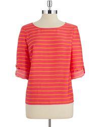 Calvin Klein Striped Blouse - Lyst