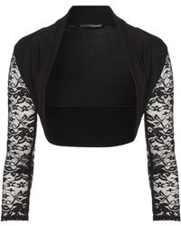 Jane Norman Lace Sleeve Cover Up Shrug - Lyst