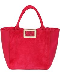 Roger Vivier Small Ines Suede  Leather Tote Bag - Lyst