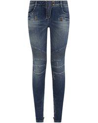 Balmain Washed Biker Jeans - Lyst