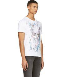 Alexander McQueen White Skull Scratch T_Shirt - Lyst