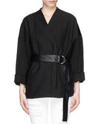 Helmut Lang Lamb Leather Belt Cloqué Combo Jacket black - Lyst