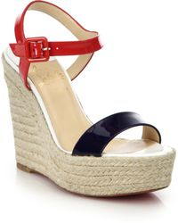 Christian Louboutin Spachica Patent Leather Espadrille Wedge Sandals blue - Lyst