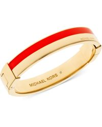 Michael Kors Gold-Tone Colorblock Hinge Bracelet - Lyst