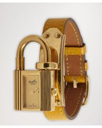 Hermes Yellow and Gold Kelly Padlock Charm Estate Watch - Lyst