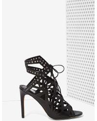 Nasty Gal Helena Leather Cutout Heel black - Lyst