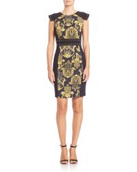 Versace | Printed Studded Sheath Dress | Lyst