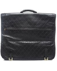Chanel Pre-owned Black Leather Vintage Garment Bag - Lyst