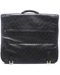 Chanel Pre-owned Black Leather Vintage Garment Bag - Lyst