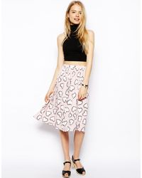 Asos Midi Skirt In Heart Print With Pockets - Lyst