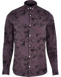 River Island Purple Vito Floral Print Long Sleeve Shirt - Lyst