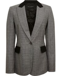 Equipment Glen Plaid Wool Suiting Anais Blazer with Contrast - Lyst