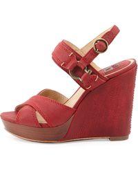 Frye Alexa Crisscross Leather Wedge - Lyst
