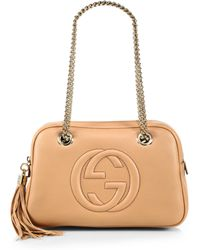 Gucci Soho Leather Chain Shoulder Bag beige - Lyst