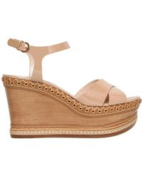 Casadei 100mm Patent Leather Wedge Sandals - Lyst