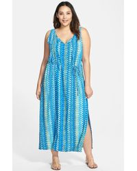 Two By Vince Camuto Ikat Stripe Sleeveless Maxi Dress - Lyst