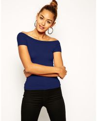 Asos The Off Shoulder Top With Short Sleeves - Lyst