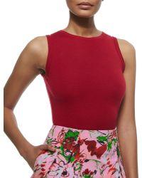 Carolina Herrera Cashmere-Silk Sleeveless Sweater - Lyst
