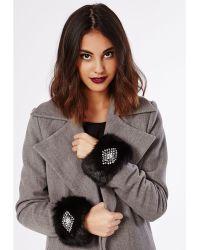 Missguided Deanna Faux Fur Embellished Cuffs Black - Lyst